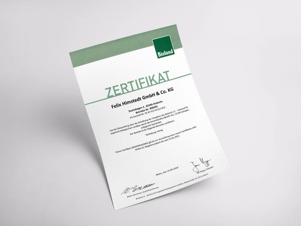 Unser Zertifikat für die Förderung und Weiterentwicklung des Bio-Landbaus.