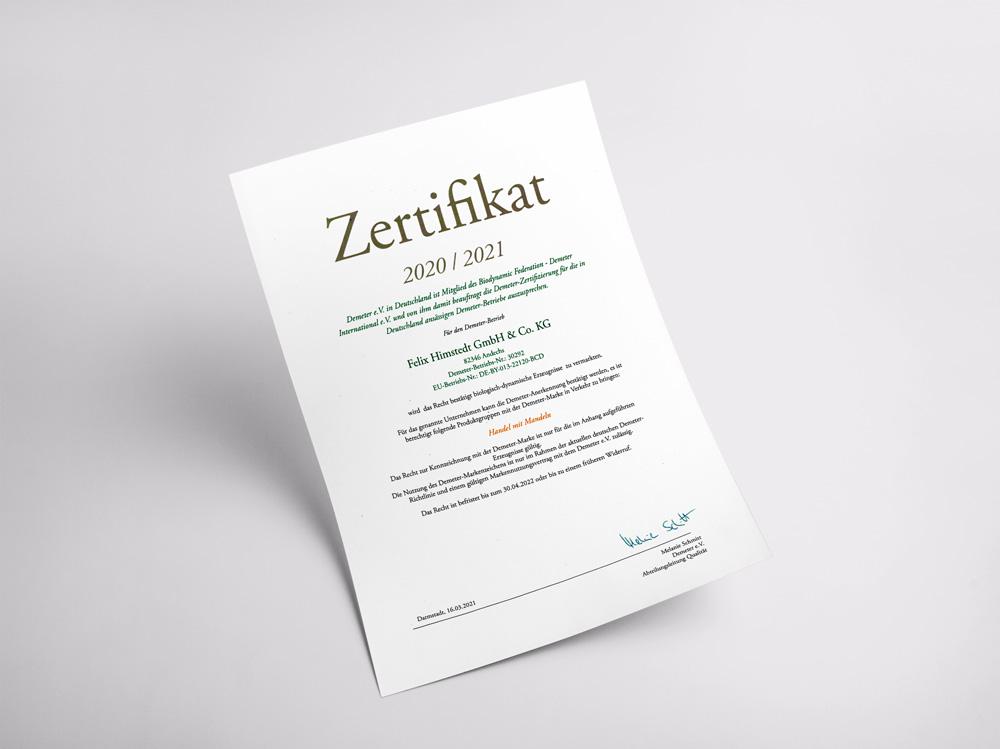 Unser Zertifikat für die nachhaltige Beachtung biologisch-dynamischer Richtlinien.
