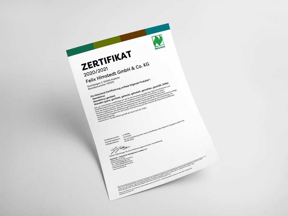 Unser Zertifikat für die Einhaltung der Richtlinien von Naturland.