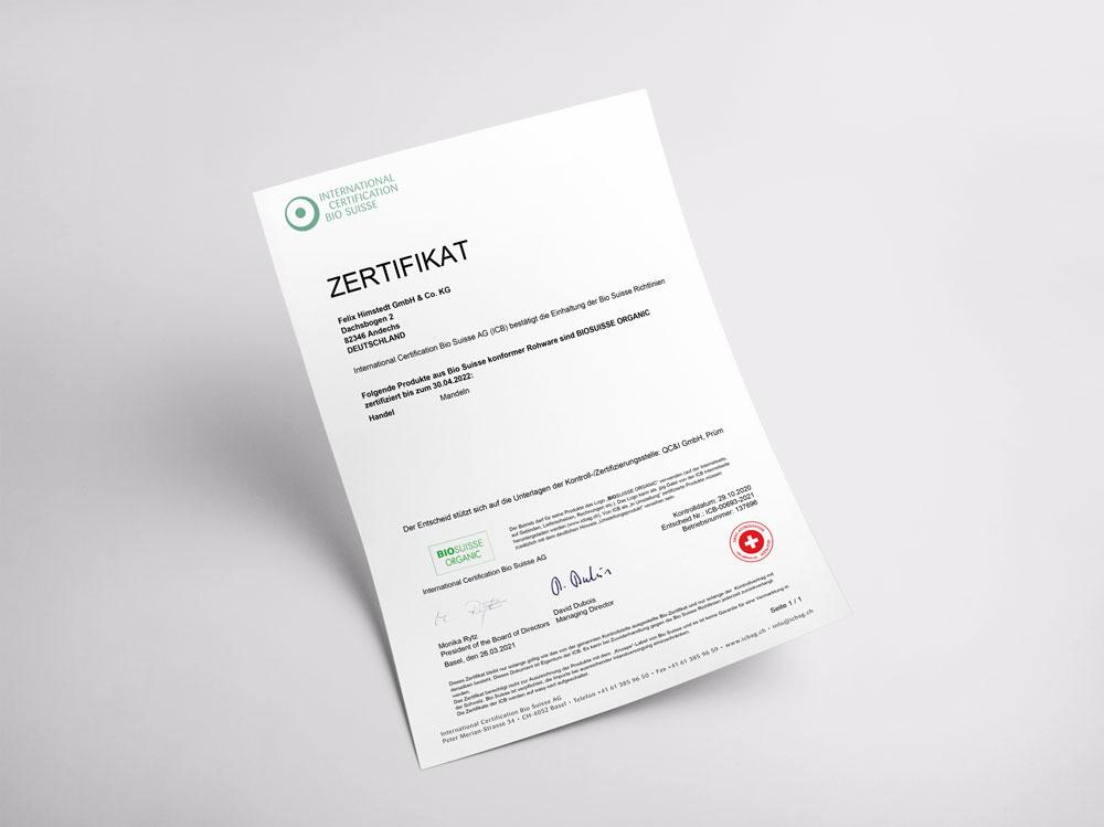 Bio Suisse Zertifikat für Felix Himstedt, Mandeln, gültig bis 30.04.2022