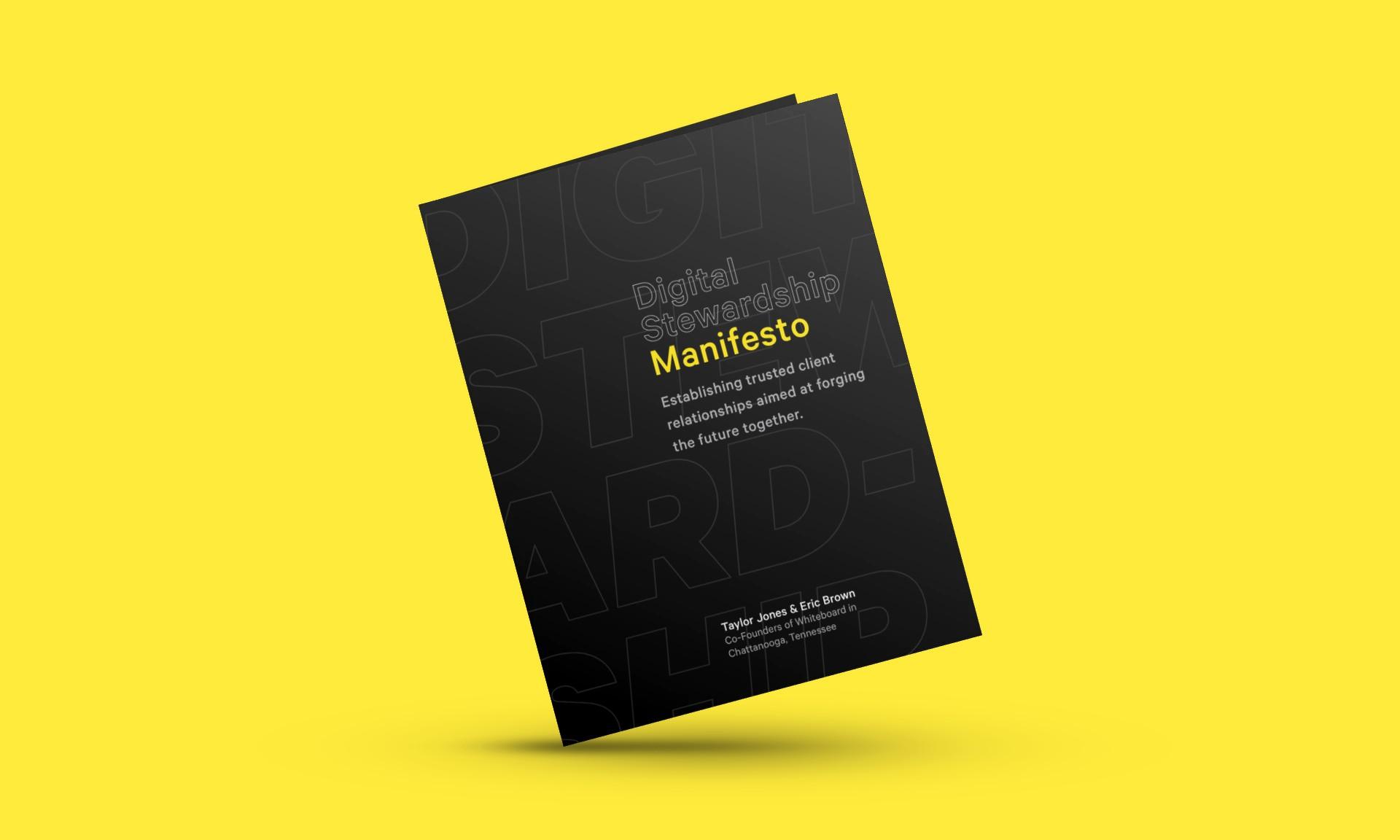 "A mockup of a book reading ""The Digital Stewardship Manifesto."""