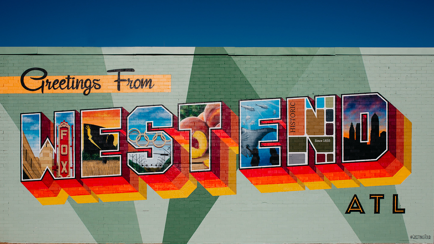 """Mural reading """"Greetings from West End."""""""