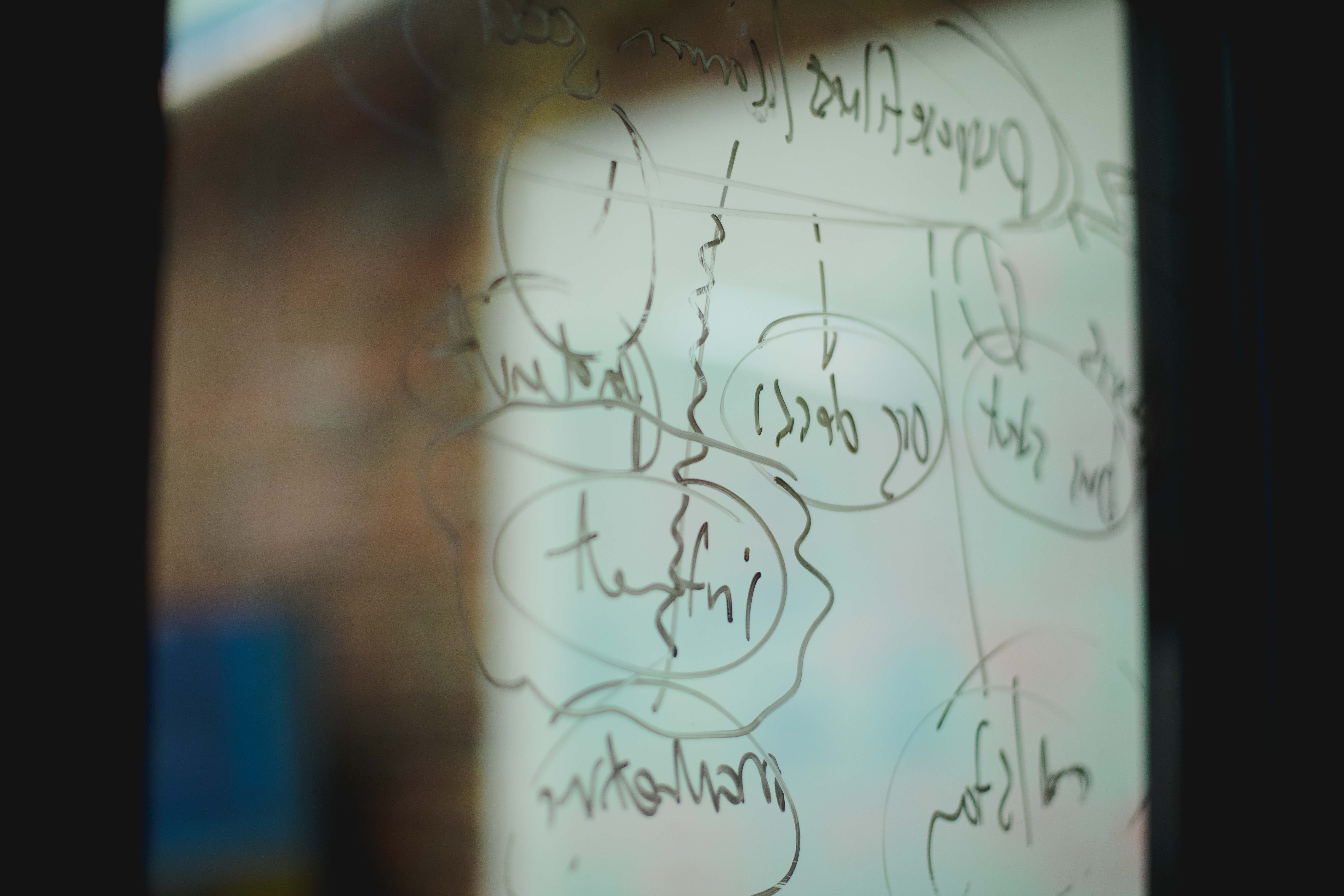 Scribblings on a window at the Whiteboard office.