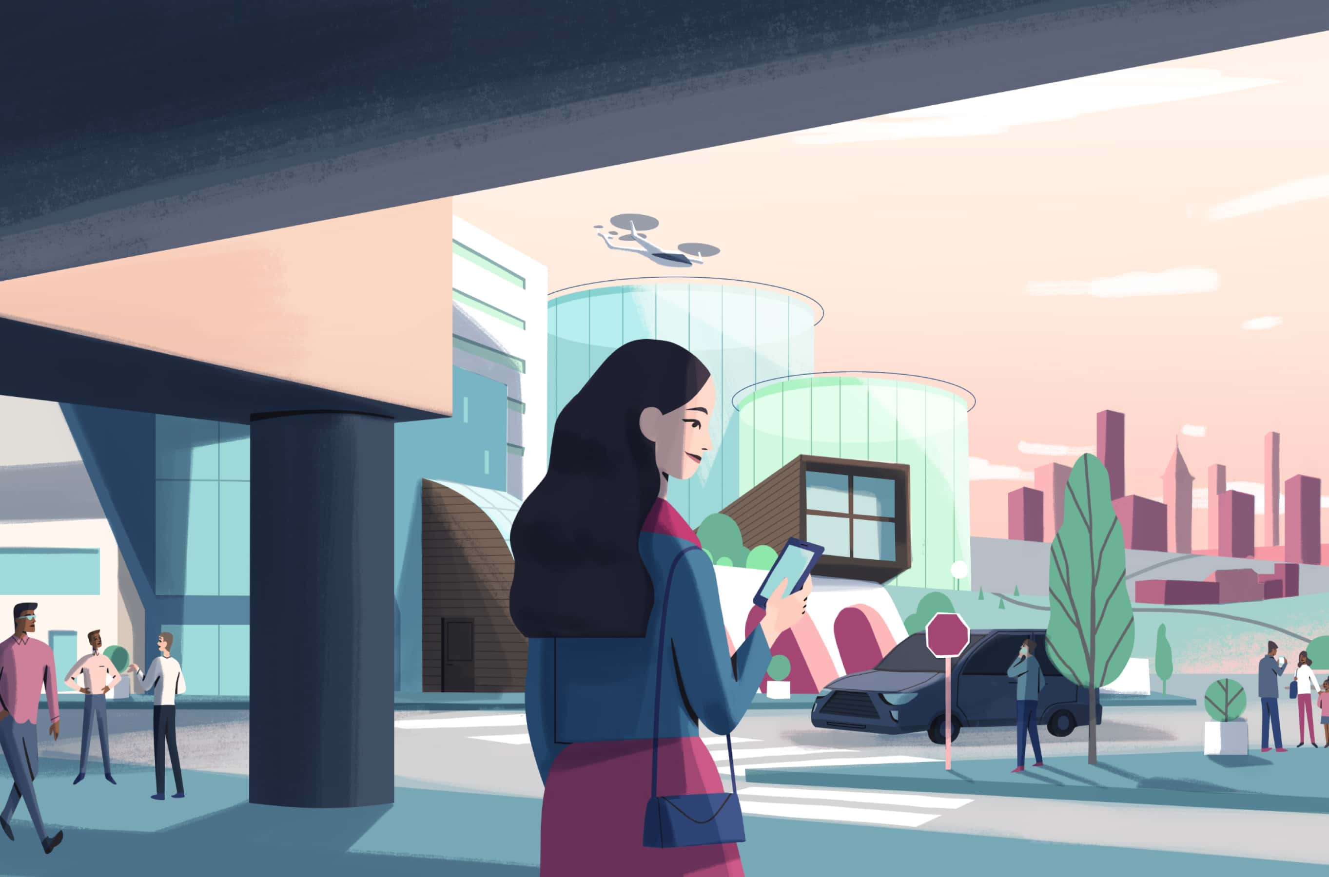 Illustration of a woman looking over an urban landscape with unmanned aircraft landing on helipads.