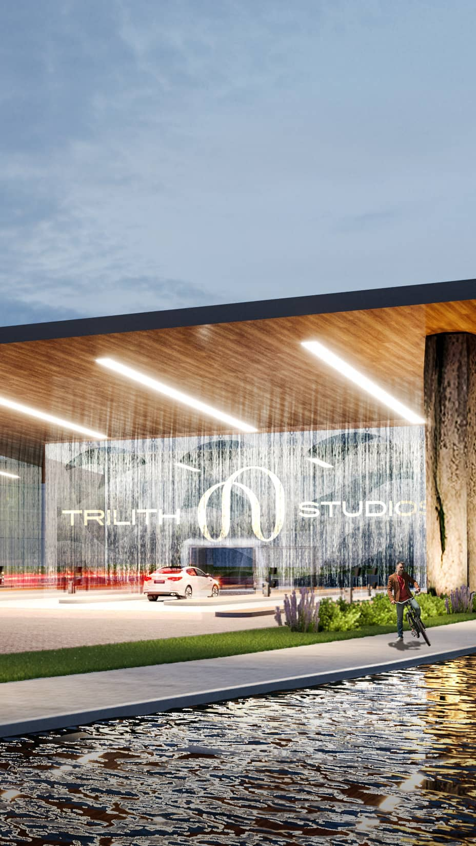An architectural rendering of the entrance to Trilith Studios featuring the new logo.
