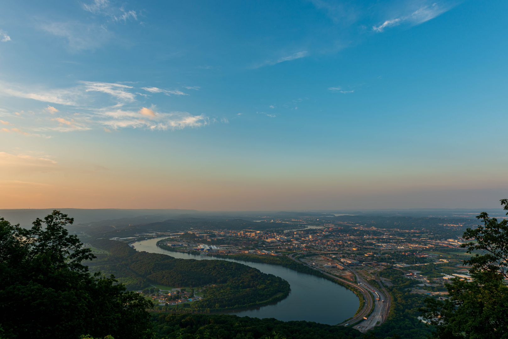Panoramic aerial of Chattanooga.