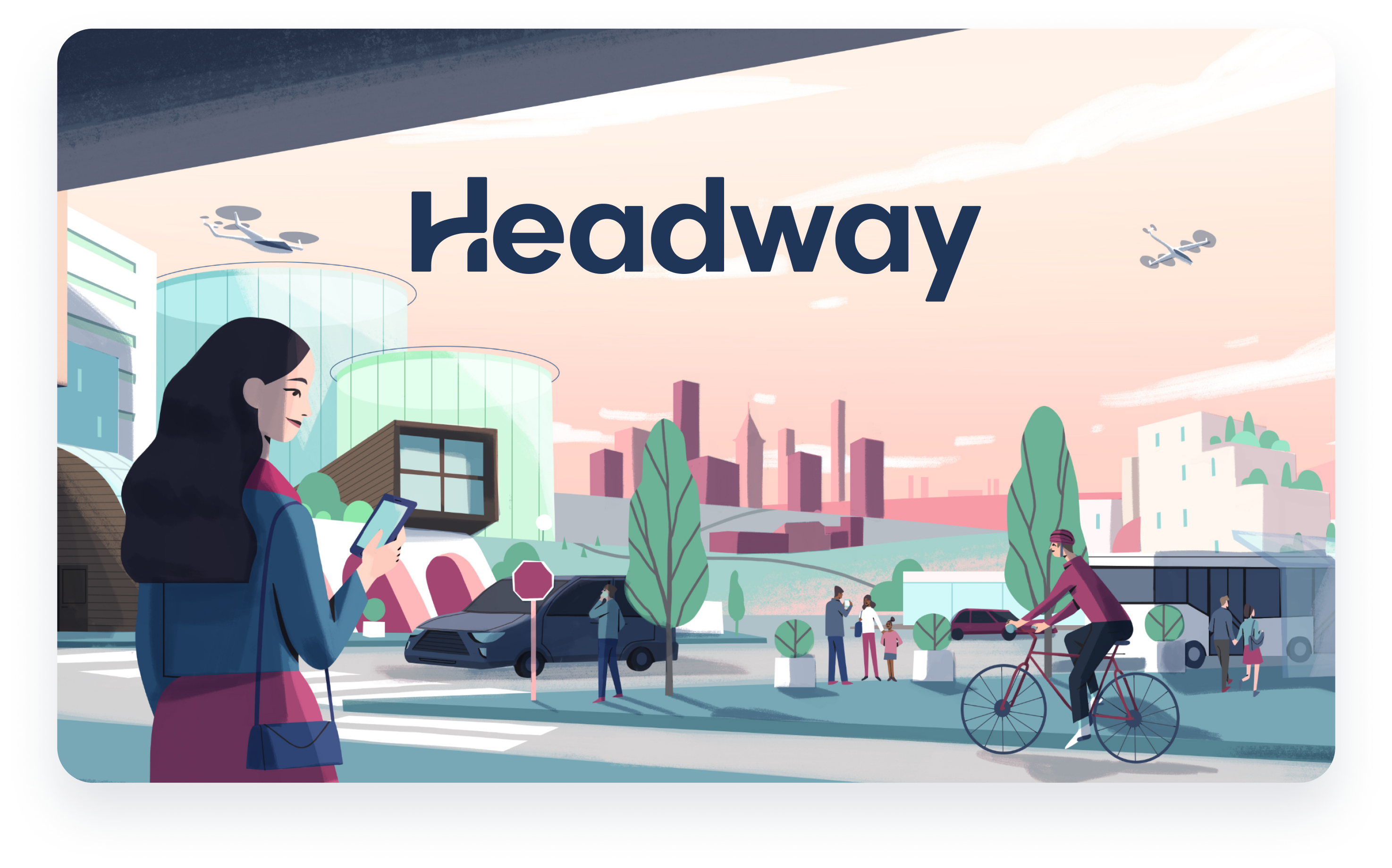 Headway logo over illustration of women in a future rendering.