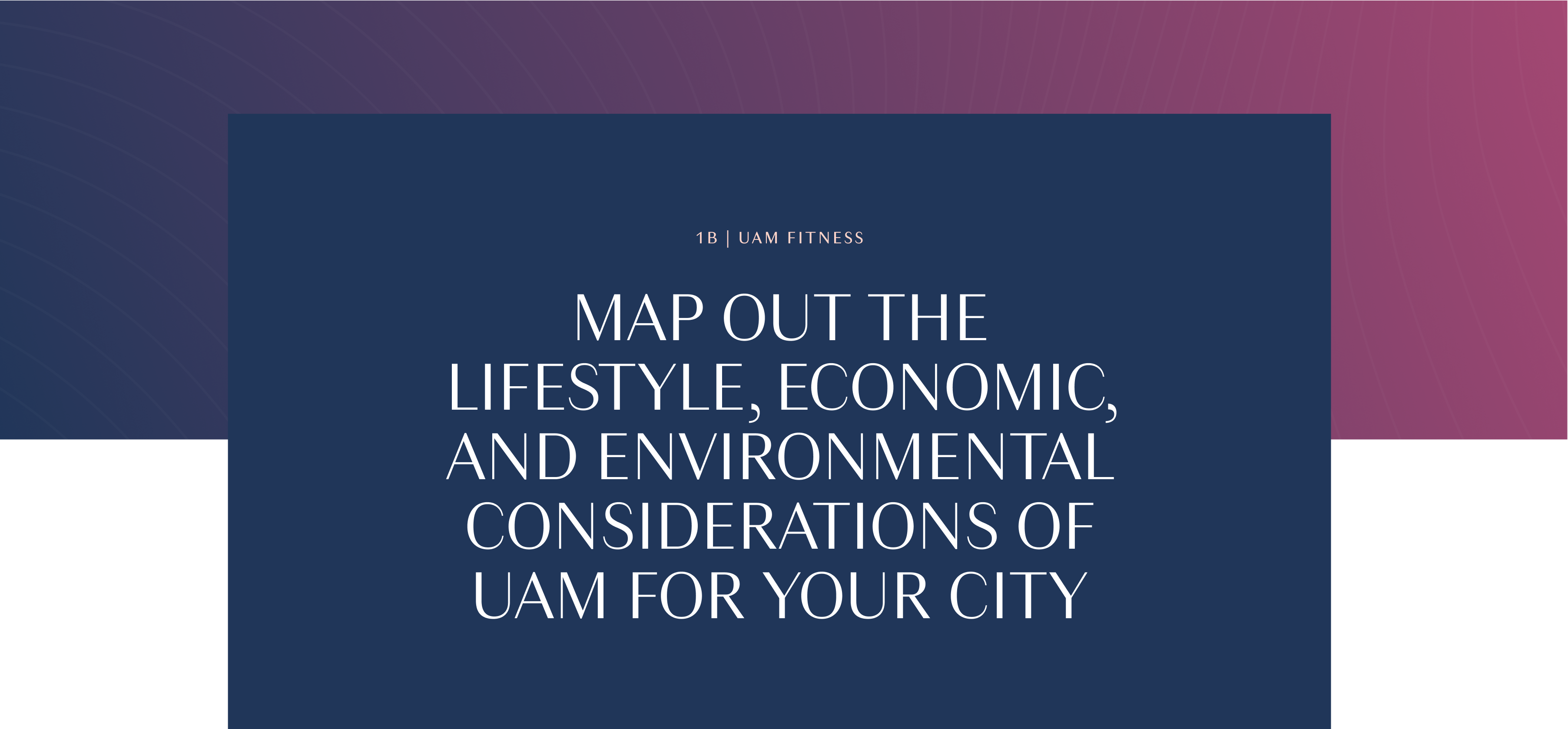 """""""Map out the Lifestyle, Economic, and Environmental Considerations of Urban Air Mobility for your city"""""""