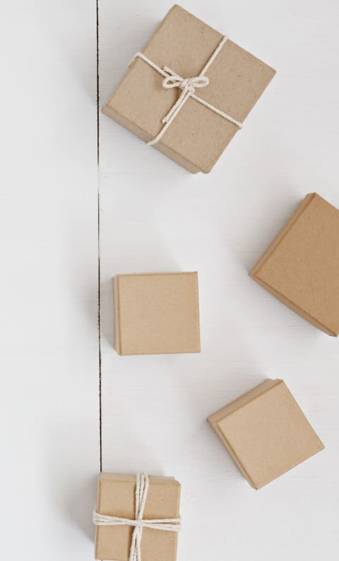 Flat lay of packages.