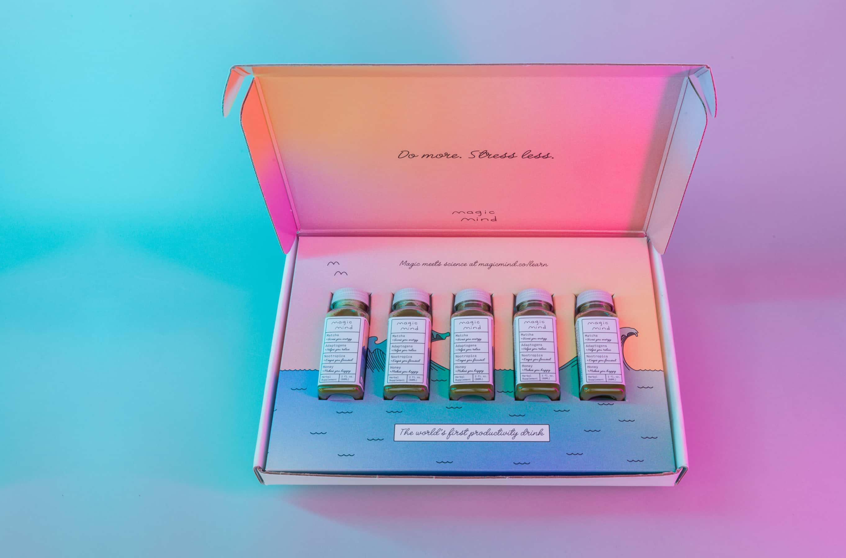 Product photo of Magic Mind bottles.
