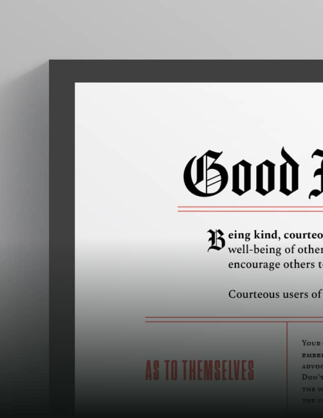 "A mockup of a diploma that reads ""Good Internet Manners."""