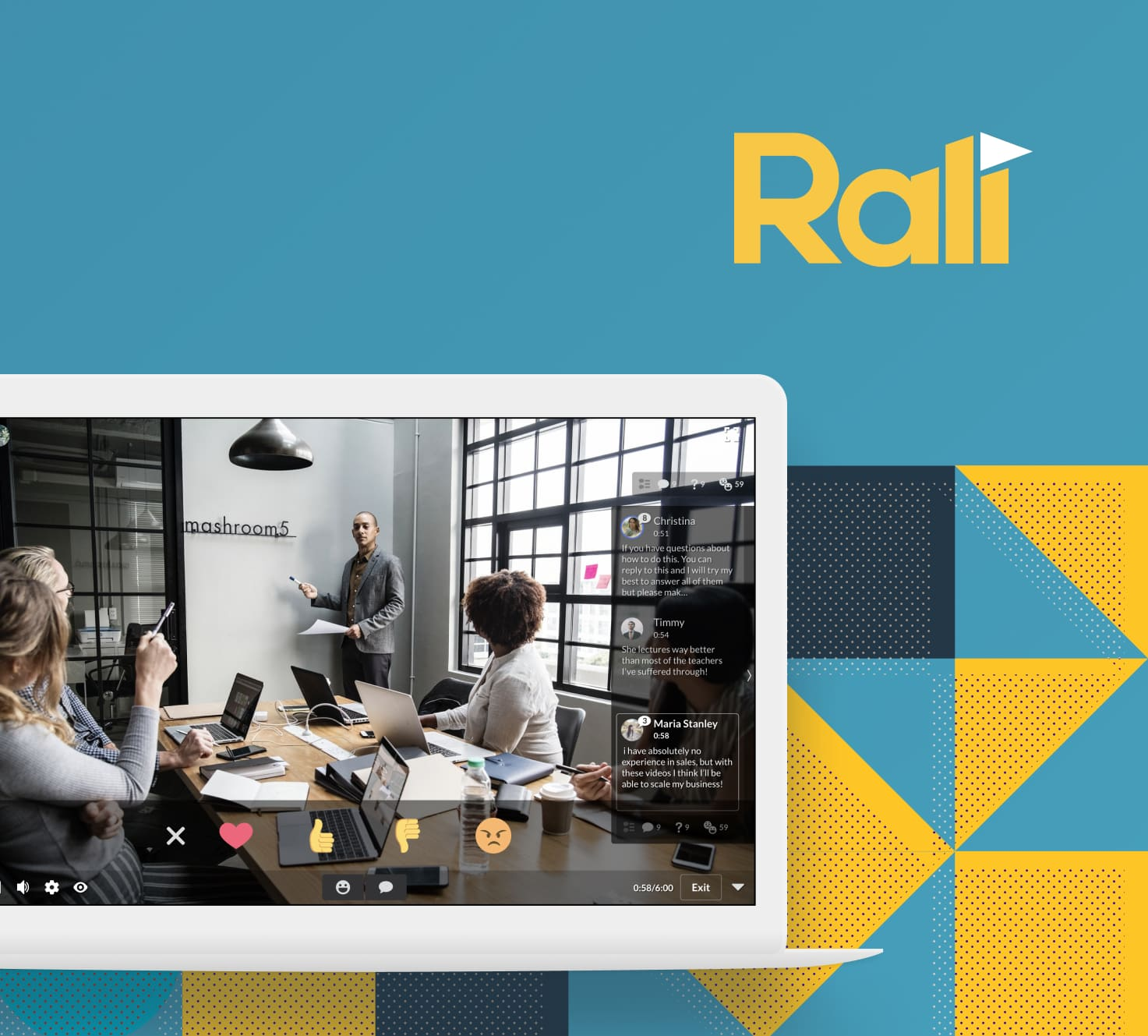 A mockup of the Rali in-browser product.