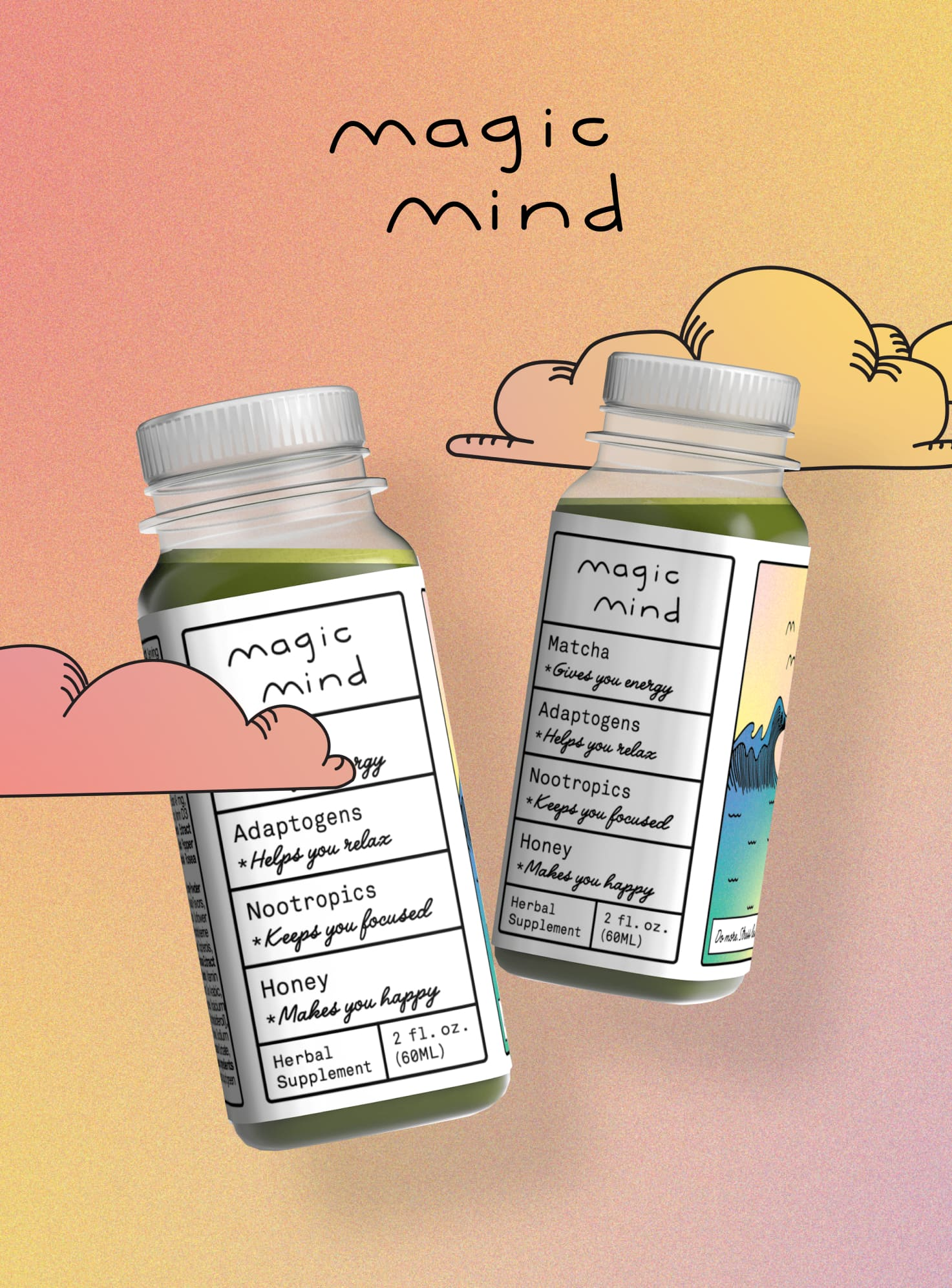 A Product shot of two magic mind bottles.