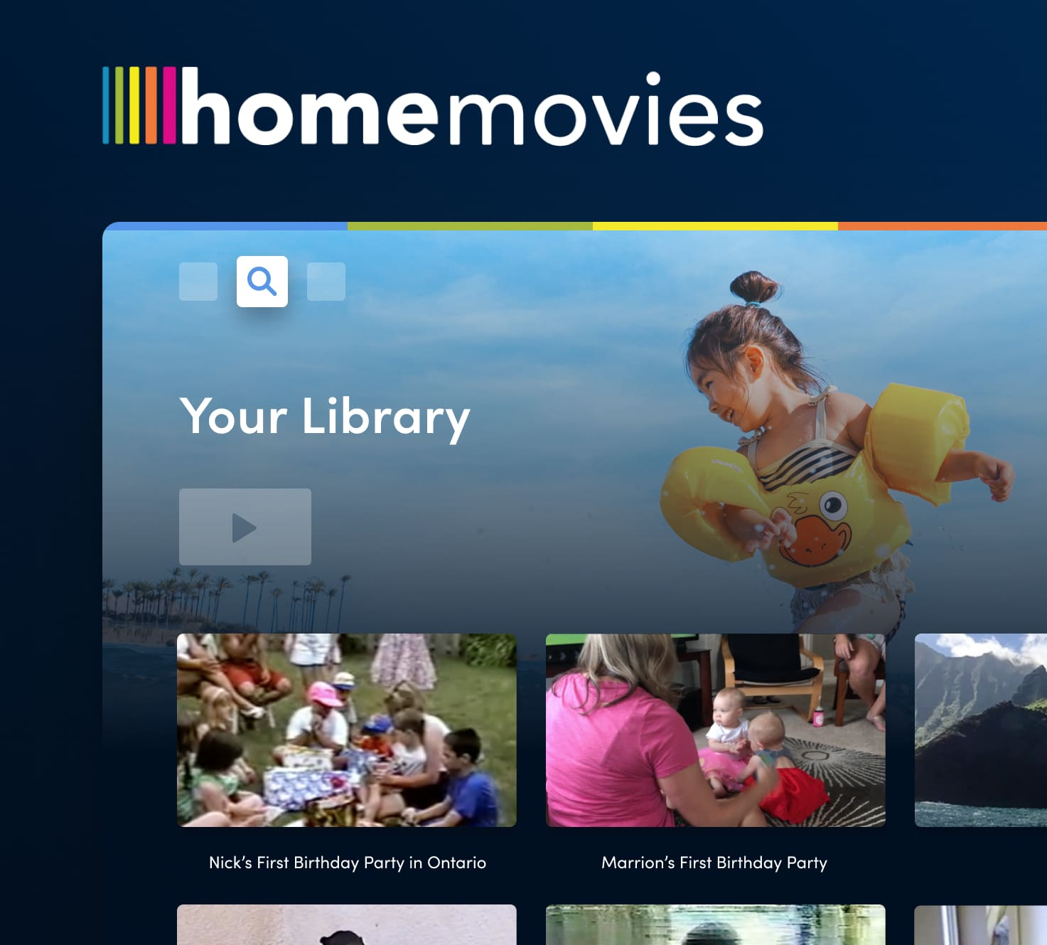 A mockup of the Home Movies tv app.