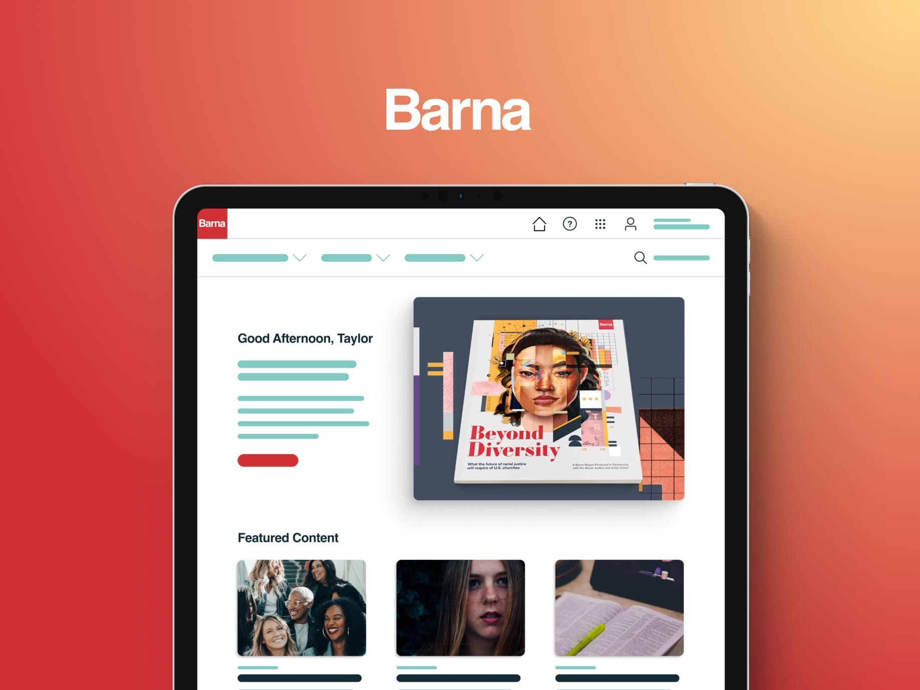 A mockup of the Barna Acess site on a tablet.