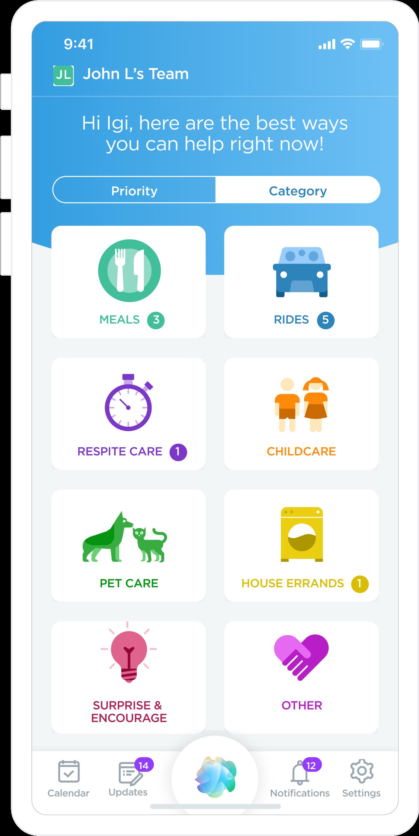 Screenshot of the ianacare mobile app design.