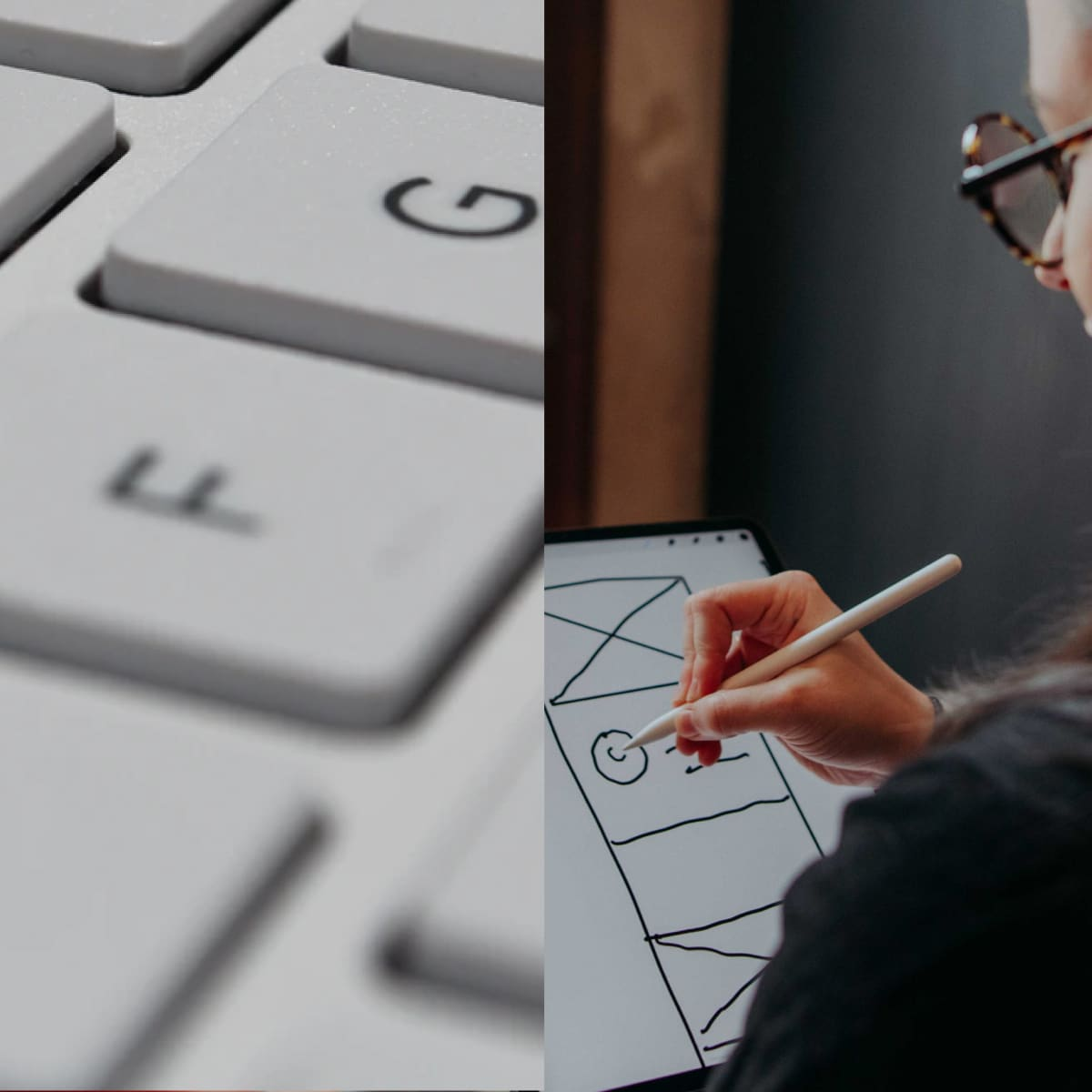 Collage image of a Whiteboard employee sketching on an ipad.
