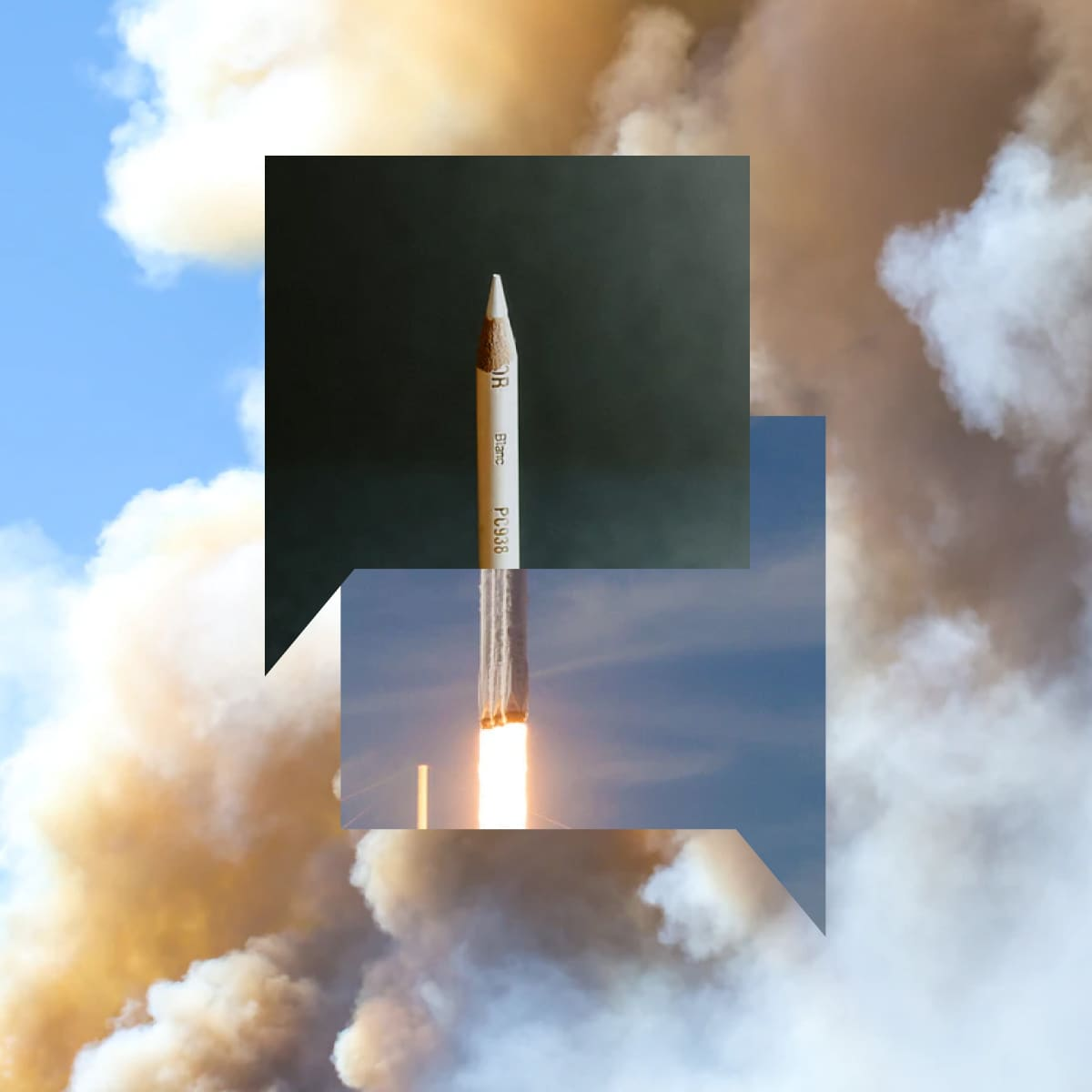 Collage image of two chat bubbles double-exposed on top of a rocket.