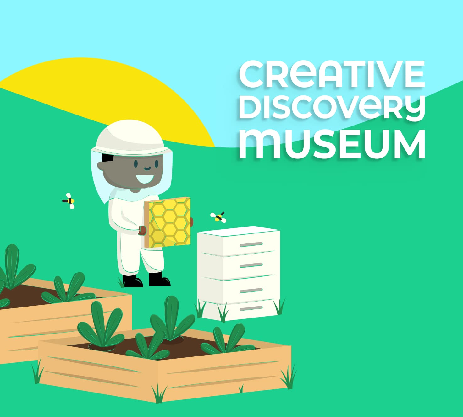 A flat-style illustration of a kid as a beekeeper and the Creative Discovery Museum logo.