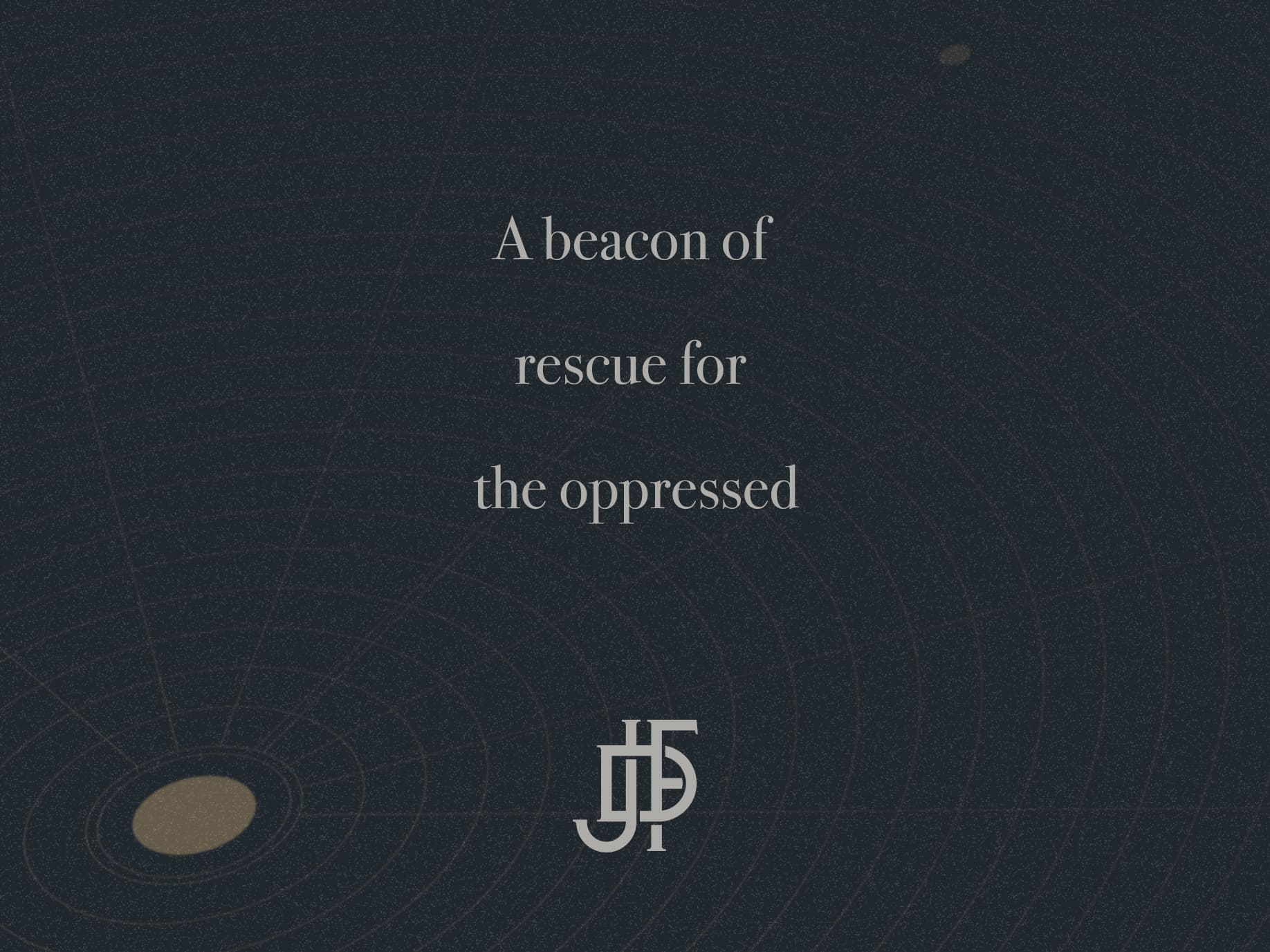 """A simple line illustration that reads """"A beacon of rescue for the oppressed."""""""