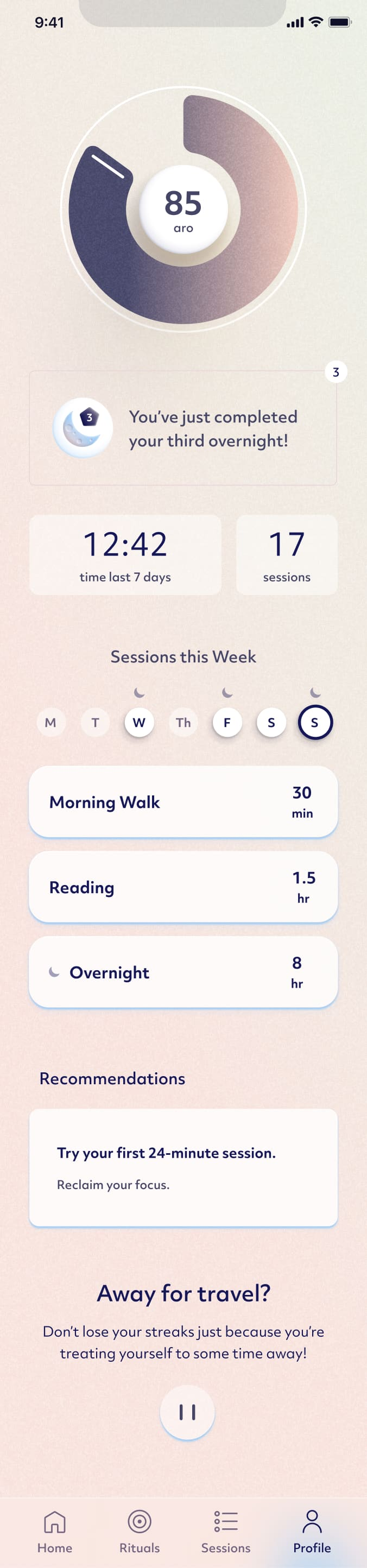 Screenshot of the Aro mobile app home screen.