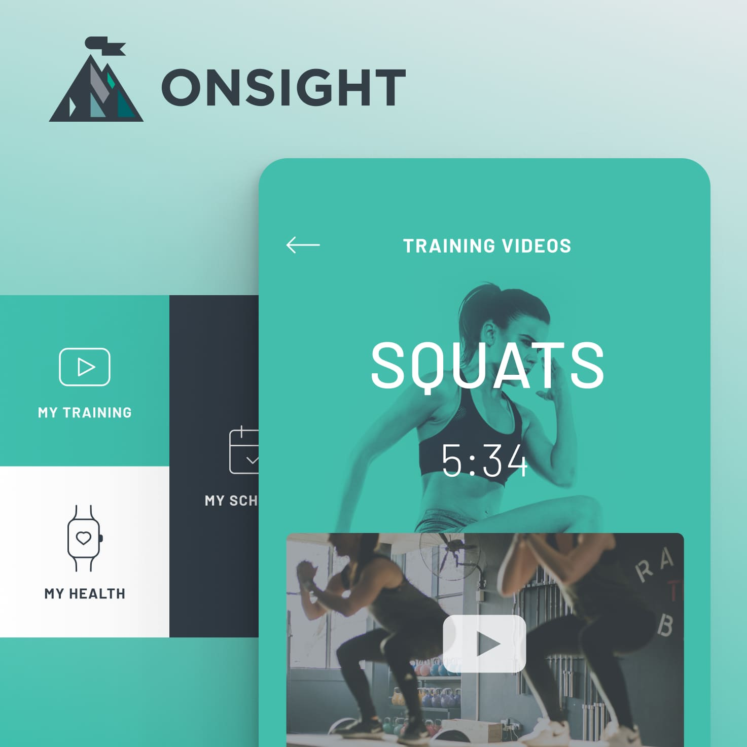 Collage of UI components used in the Onsight Fitness mobile app.