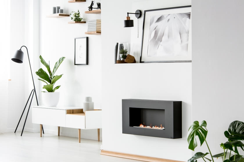 Bright white living room with black accents