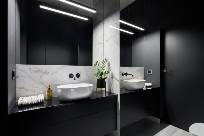Sophisticated, black bathroom
