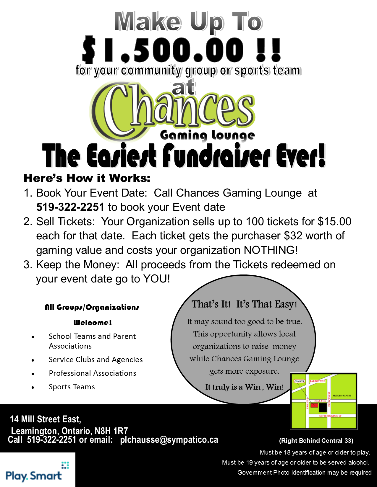 This image contains some details about having a fundraiser. To find out more information please call us at (519)322-2251