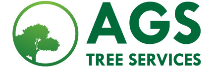 The AGS Tree Services company logo featured on a mock-up of a laptop.
