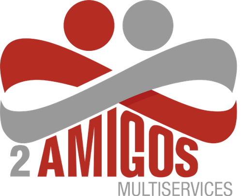 The Dos Amigos Multiservices company logo featured on a mock-up of a laptop.