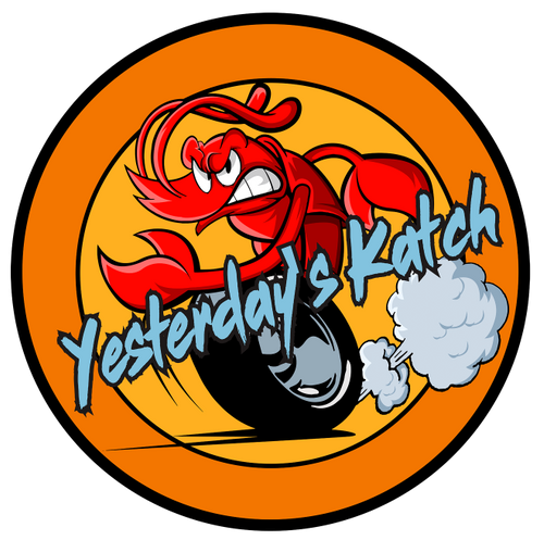 The Yesterday's Katch Seafood Delivery company logo displayed on a mockup of a laptop