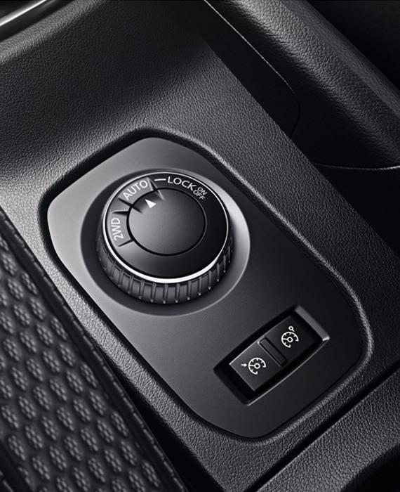interior of Dacia Duster: 4WD-mode