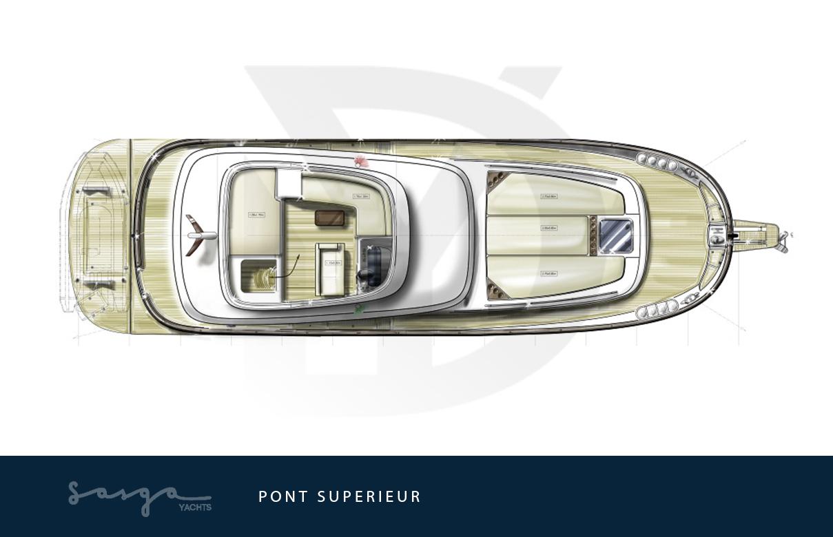 Plan de pont supérieur du yacht sasga menorquin 54
