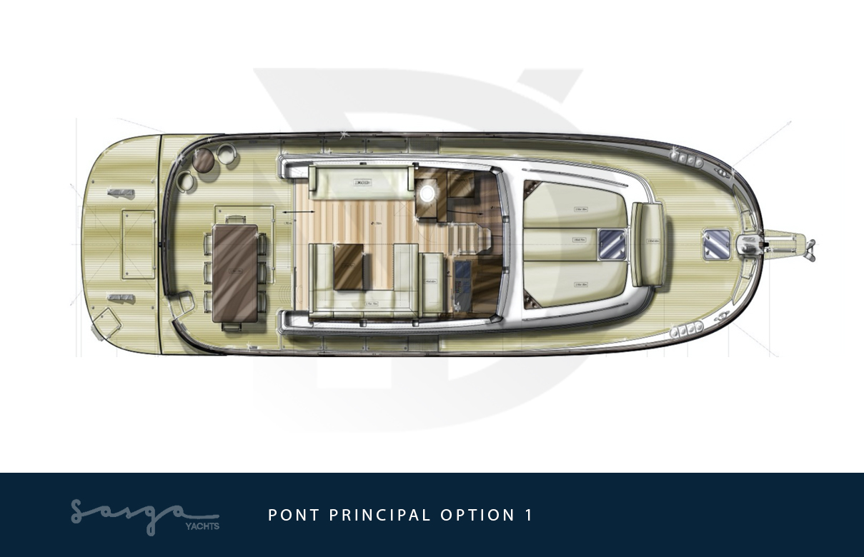 Plan de pont principal du yacht sasga menorquin 54
