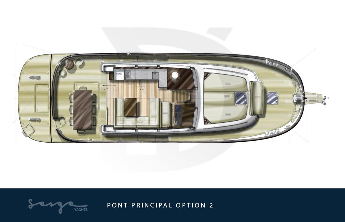 Plan de pont principal, version alternative, du yacht sasga menorquin 54