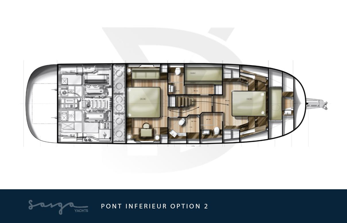 Plan de pont inférieur, version en option, du yacht sasga menorquin 54