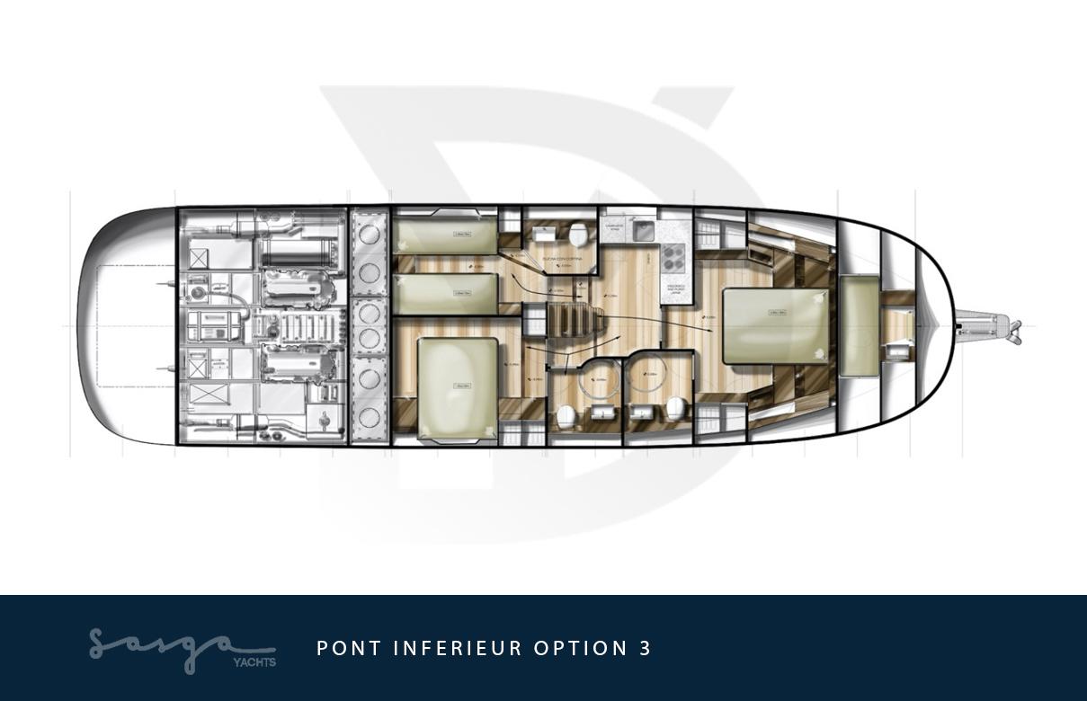 Plan de pont inférieur du yacht sasga menorquin 54 : option 3