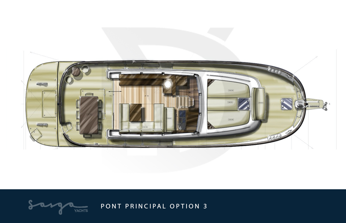 Plan de pont alternatif du yacht sasga menorquin 54