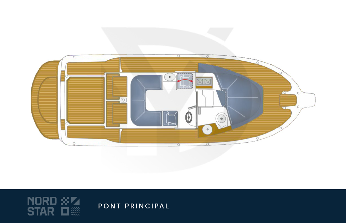 Plan de pont supérieur du bateau à moteur nord star 26