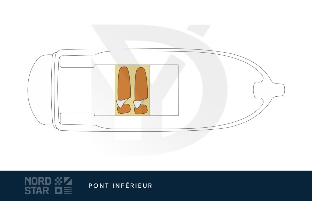 Plan de pont des cabines du bateau à moteur nord star 26