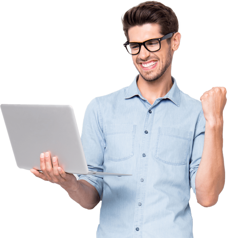 Man happy that his OKC Web Design by Carbon Creative is generating results