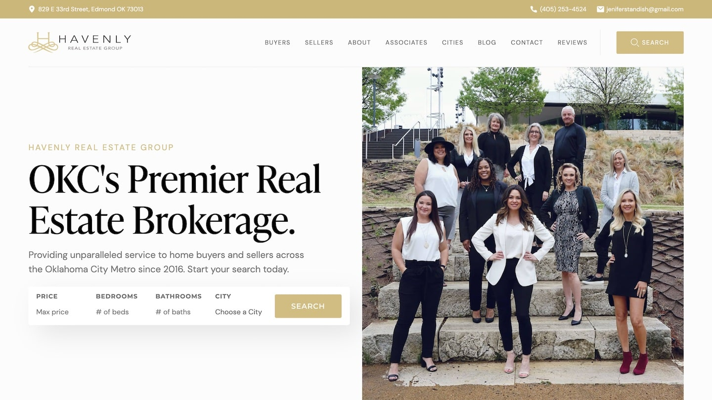 Havenly Real Estate Website, as designed by Carbon Creative