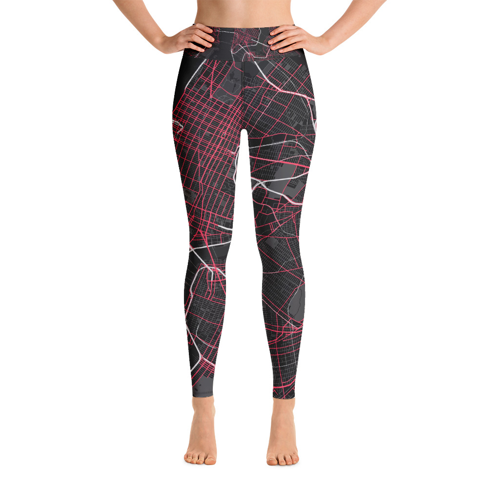 New York Black & Pink Yoga Leggings