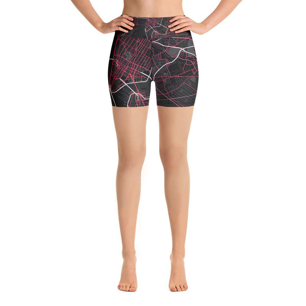 New York Black & Pink Yoga Shorts
