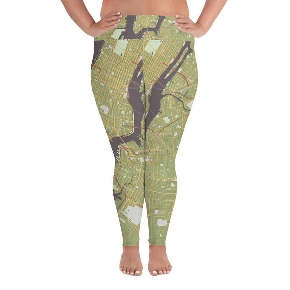 New York Olive Green Plus Size Yoga Leggings