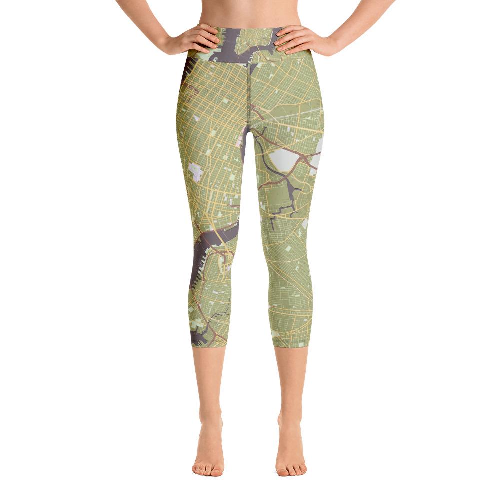 New York Olive Green Yoga Capri Leggings