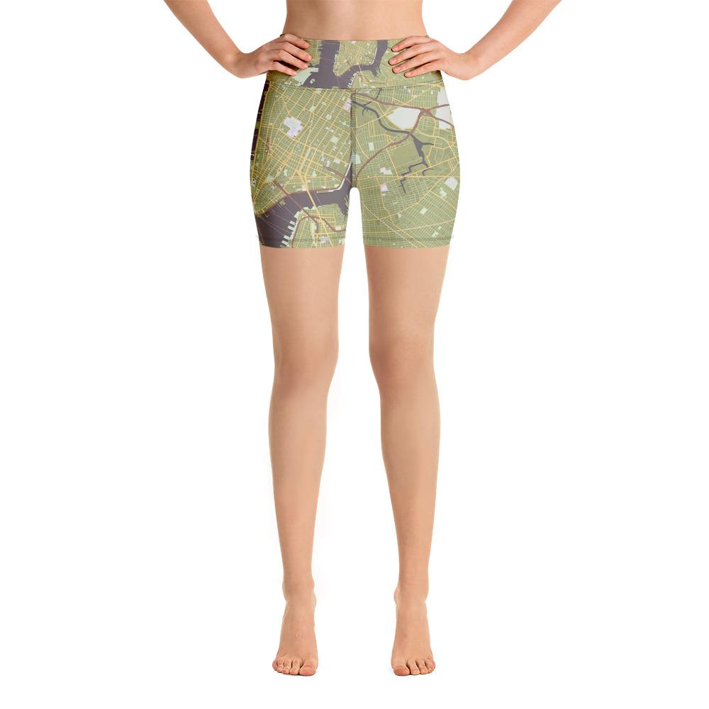New York Olive Green Yoga Shorts