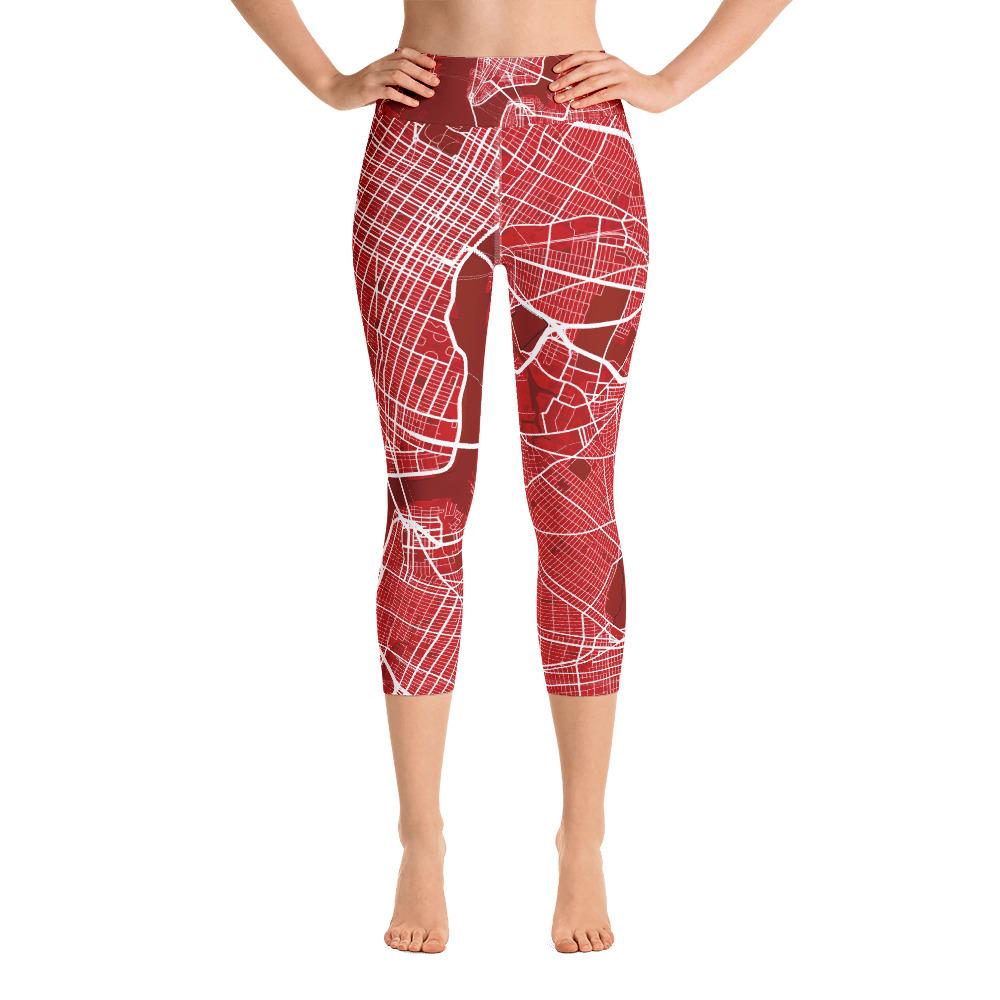New York Red Yoga Capri Leggings