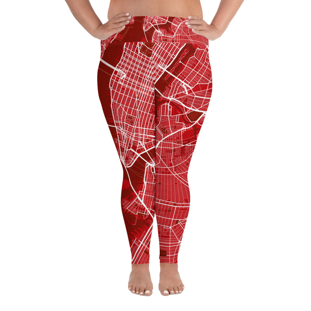 New York Red Plus Size Yoga Leggings